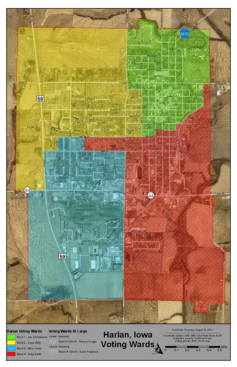 City of Harlan Ward Voting Map